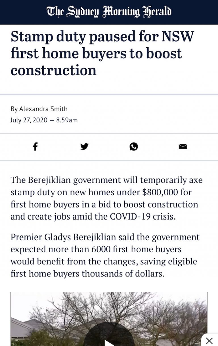 Stamp duty paused for NSW first home buyers to boost construction