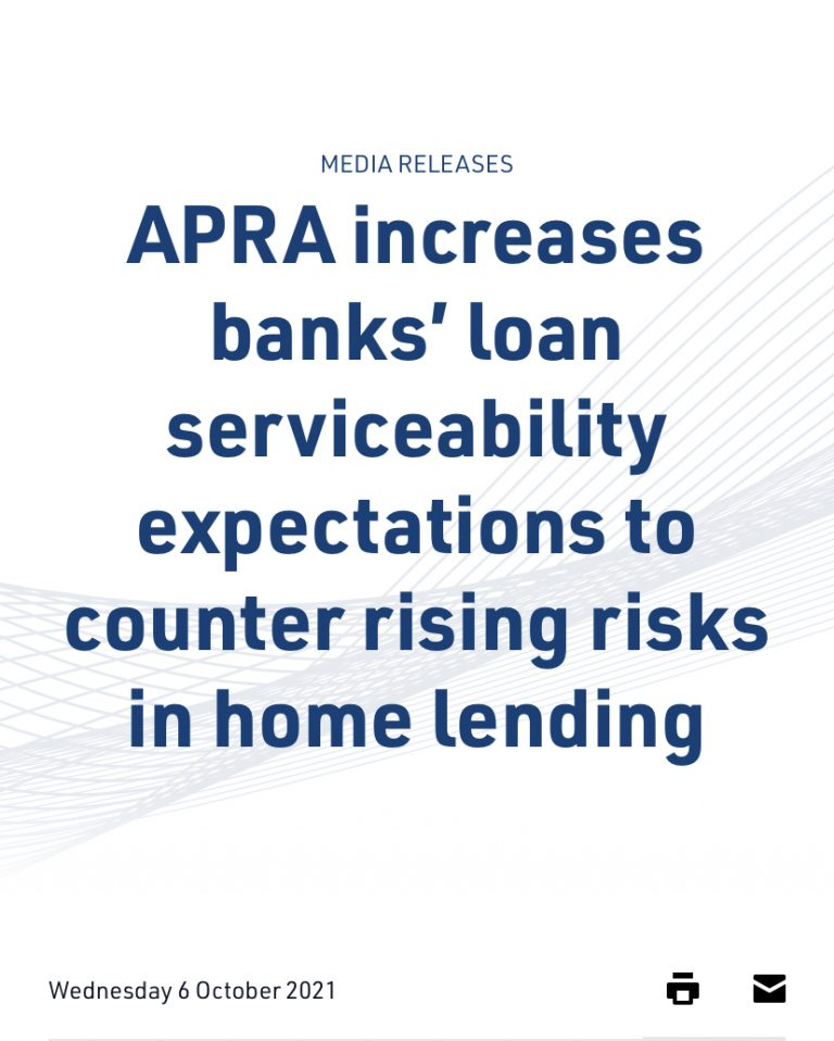 APRA increases banks' loan serviceability expectations to counter rising risks in home lending